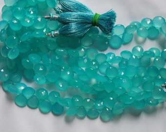 8 Inch, Superb-Finest Quality,AAA Aqua Chalcedony Faceted Heart Briolettes 10mm Large Size