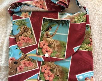 Hawaiian Fabric Adjustable Shoulder Bag