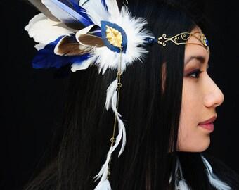 Fairytale feather tiara, Blue and white feathered festival headwear, Angelic headdress, Fairy tiara with feathers,  Tiara with lapis lazuli,