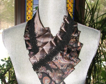 Necktie Necklace - Refashioned Necktie - Silk Collar - Pleated Necktie - Silk Ascot