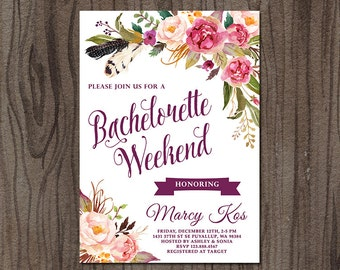 Bachelorette Weekend Invitation, Bachelorette Party Invitation, Floral Bridal Shower Invitation, Hens Party Invitation