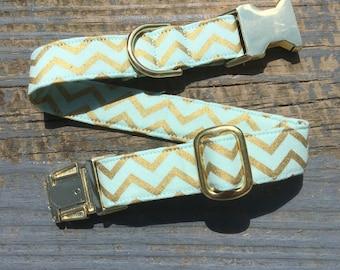 Mint Dog Collar, Chevron Dog Collar, Gold Dog Collar, Boy Dog Collar, Dog Collar Chevron, Wedding Dog Collar, Dog Collar Gold, Dog Collars