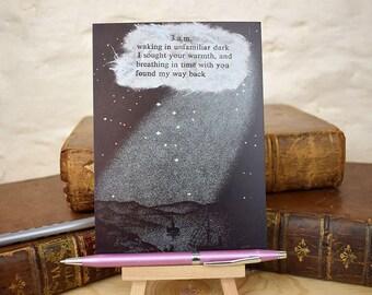 Love poem postcard, love poetry, letterpress print, mini print, love poem art