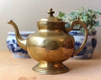Vintage Solid Brass Teapot with Hinged Lid