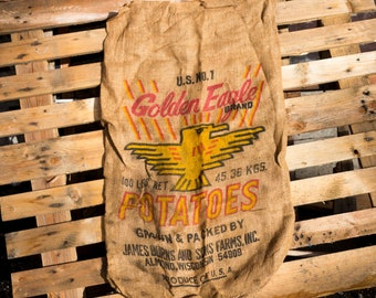Golden Eagle Potato Sack Vintage Burlap Bag