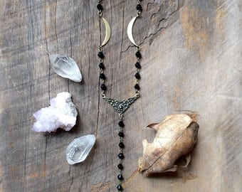 Crescent Moon Necklace - Rosary - Art Nouveau - Jewelry - Witchy - Goth - Boho - Unique - Gift - Handmade - Brass - Moon - Antique