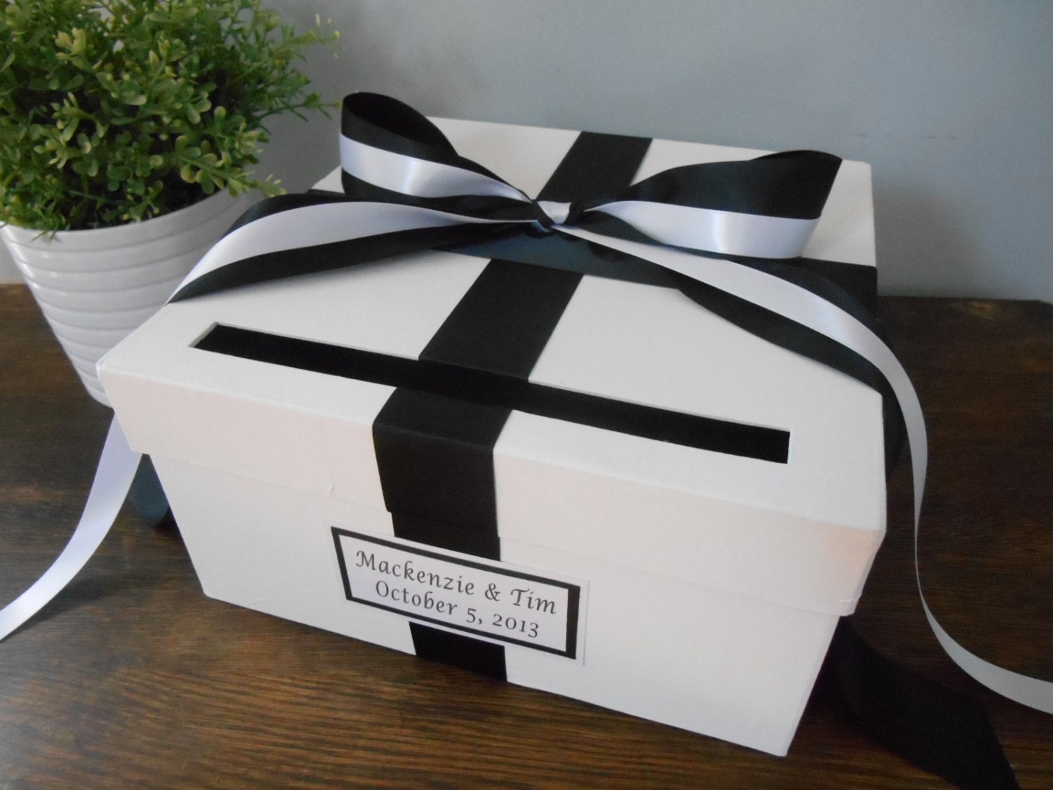 Custom Wedding Card Box Classic Black and White Wedding and