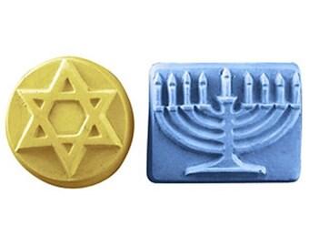 Hanukkah Soap, Set of 2, Star of David & Menorah, Guest Soap, Novelty Soap - You pick Scent and Color