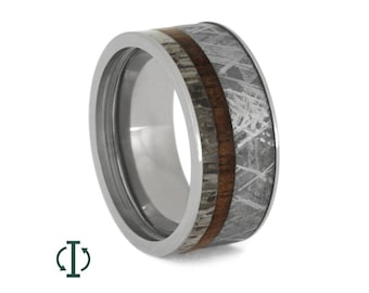 Interchangeable Titanium Ring, Meteorite Ring With Deer Antler And Mangowood, Custom Made Wedding Band