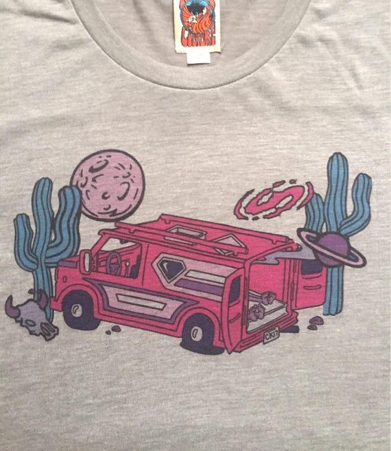 Chevrolet Van Life Moon Cactus Shirt 1970s Hippie Mens Tee AzKrOf