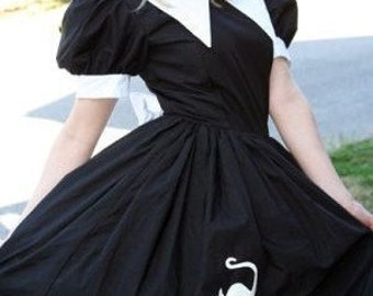 Salem Witch Halloween Costume Dress Womens Custom Size including Plus Sizes Adult Unique Black White Pointed Collar Bow Cat Applique