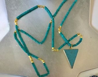 Beaded Long Turquoise Necklace with 24K gold plating details-SALE!