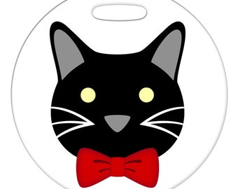 Luggage Tag - Mr. Cat with Red Bowtie  - Round Plastic Bag Tag