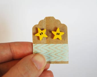 Star Supermario in Fimo lobe earrings-Little things Collection
