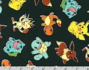 Black Pokemon Fabric, END OF BOLT,  Pikachu Fabric, Eevee, Bulbasaur, Charmander, Squirtle, Meowth, Pokemon Go Fabric