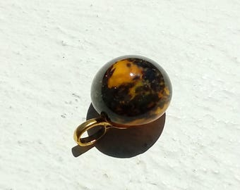Yellow and gold Lampwork Glass pendant