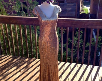 Gold Sequin bridesmaid dress, Gold sequin prom dress, long gold sequin bridesmaid gown, formal prom gown