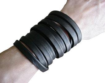 Multi wrap bracelet, Leather wrap bracelet, Black leather cuff bracelet, Goth Jewelry,Punk Jewelry, Minimalist Bracelet, European Plonge