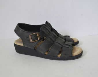 Black nubuck leather sandals Minimalist Womens Strappy wedges  open toe summer shoes Classic chunky wedge heel  UK 5 EU 38 US 7.5