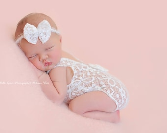 White Lace Romper and Bow Headband Newborn Photography Prop