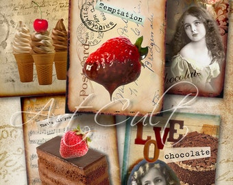 Printable Download CHOCOLATE Gift Tags Digital Collage Sheet 2.5x3.5 inch size images vintage ephemera scrapbooking paper ArtCult graphics
