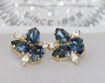 MONTANA BLUE EARRINGS, Blue Gold Earrings, Blue Wedding Gift, Swarovski Earrings, Flower Earrings, Navy Blue Earrings, Sister Earrings Gift