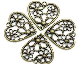2 charms/pendants heart floral metal bronze