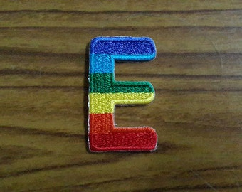 Rainbow Alphabet Letter E Applique Embroidered Iron on Patch