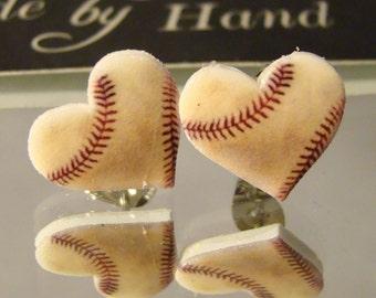 Baseball heart Stud Earrings - Baseball Mom Jewelry - I love baseball Jewellery - worn baseball
