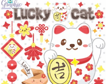 Lucky Cat Clipart, Maneki Neko Clipart, Cat Clipart, COMMERCIAL USE, Kawaii Clipart, Planner Accessories, Chinese Clip Art, Neko