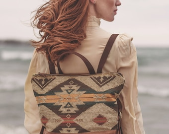 Boho Backpack, Backpack Diaper Bag, Hipster Backpack, Laptop Backpack, Stylish Laptop Bag, Leather Backpack, Everyday Bag, Women's Backpack