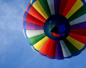 "Hot air balloon photograph, primary colors, kid room decor -- ""Up"", a 5x7-inch fine art photograph"