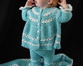 Blueberry Baby Layette Crochet Pattern PDF