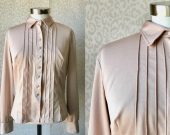 70's beige blouse size L/XL, womens blouse from poly blend, tailor made blouse, 70's fashion