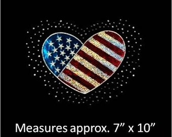 CLOSEOUT SALE Heart Shaped Flag Sequins and Rhinestone Transfer Applique ONLY