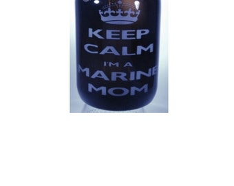 Keep Calm Marine Mom 64oz amber etched Beer Growler