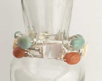Set of 3 Stackable Bangles, Wire Wrap Bangles, Gemstone Bangles, Gift For Her