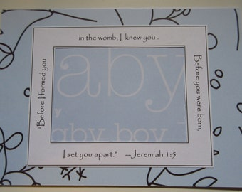 Blue and White Baby Boy Announcement Sonogram Frame 5x7 Frame Ultrasound Frame Christian Nursery Decor Jeremiah 1-5 Baby Shower Gift