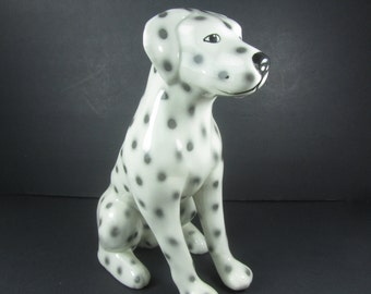 DALMATIAN DOG PLANTER, Ceramic Dog, Whimsical, Firehouse Dog