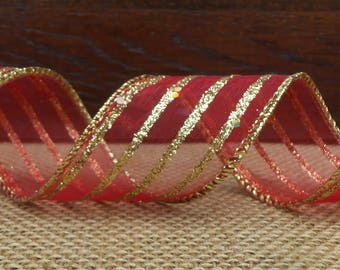 """Christmas Wired Ribbon, 1 1/2"""" wide, Red Sheer Gold Glitter Stripe  - THREE YARDS - Valentine's Day, Red Sheer Craft Wired Edged Ribbon"""