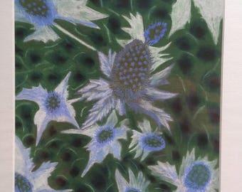Eryngium Flowers, Giclee Print, Blue Flowers, Abstract art, Pastel painting, wall art