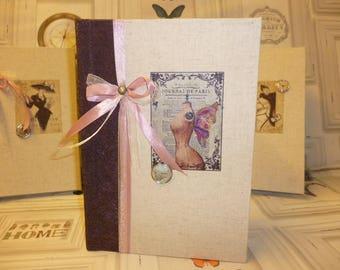 """Vintage """"Paris newspaper"""" sewing book N 3 book or book of memories, poems or secrets"""