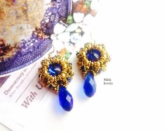 Handmade beaded bleu earrings for her, beadwork jewelry, blue and gold earrings, dangle drop chandelier earrings, hand craft jewelry for her
