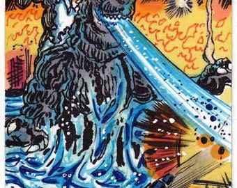 Godzilla Personal Sketch Card Unique Gift Item Kaiju Monster Giant Monsters Beast Like Creature