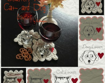WHIMSICAL, Cute COASTERS for Cat- and Dog lovers, 8 ITH Machine Embroidery Designs, 2 designs in different versions as Coasters and Texts