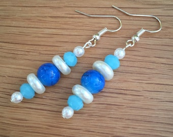 Hand Crafted Blue and Pearl Beaded Earrings.