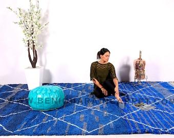 Large Blue Beni ourain Moroccan rug 8.1ft x 12.8ft Moroccan Berber Vintage Rug BENI OURAIN 100% wool Tapis Berber Berber Teppish Azilal rug