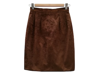 Vintage SUEDETTE skirt//vintage clothing//brown//1970s//1980s//suede//Faux leather//gift for woman//vintage SKIRT/women
