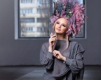 Green & Rose  Headdress, Ukrainian headwear, Crown, Flower Headpiece, Hair Accessories, Headband, Floral Circlet Headpiece, Ethnic Wreath
