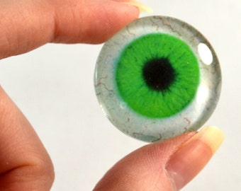 25mm Green Glass Eye for Pendant Jewelry Making or Taxidermy Fantasy Human Doll Eyeball Flatback Circle with White Sclera